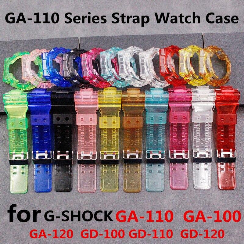 Watch Accessories GA110 Series Strap Watch Case For GSHOCK Resin Transparent Strap GD 120 GA 100 GA 110 GA 100C Strap Case