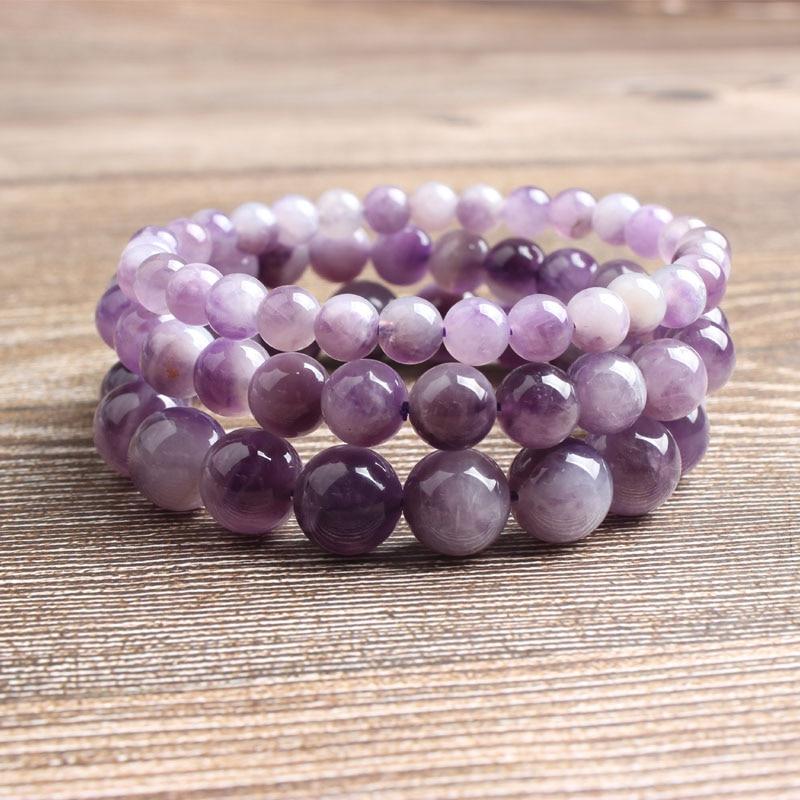 LingXiang 6/8/10 мм натуральный драгоценный камень аметист, бисер, браслет, амулет для йоги, женщин, медитация