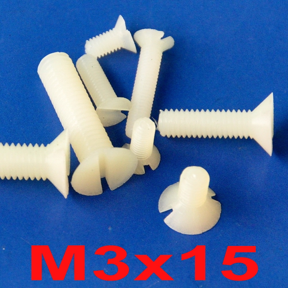 ( 1000 pcs/lot ) Metric M3 x 15mm Nylon Slotted Flat Head Countersunk CSK Screw.