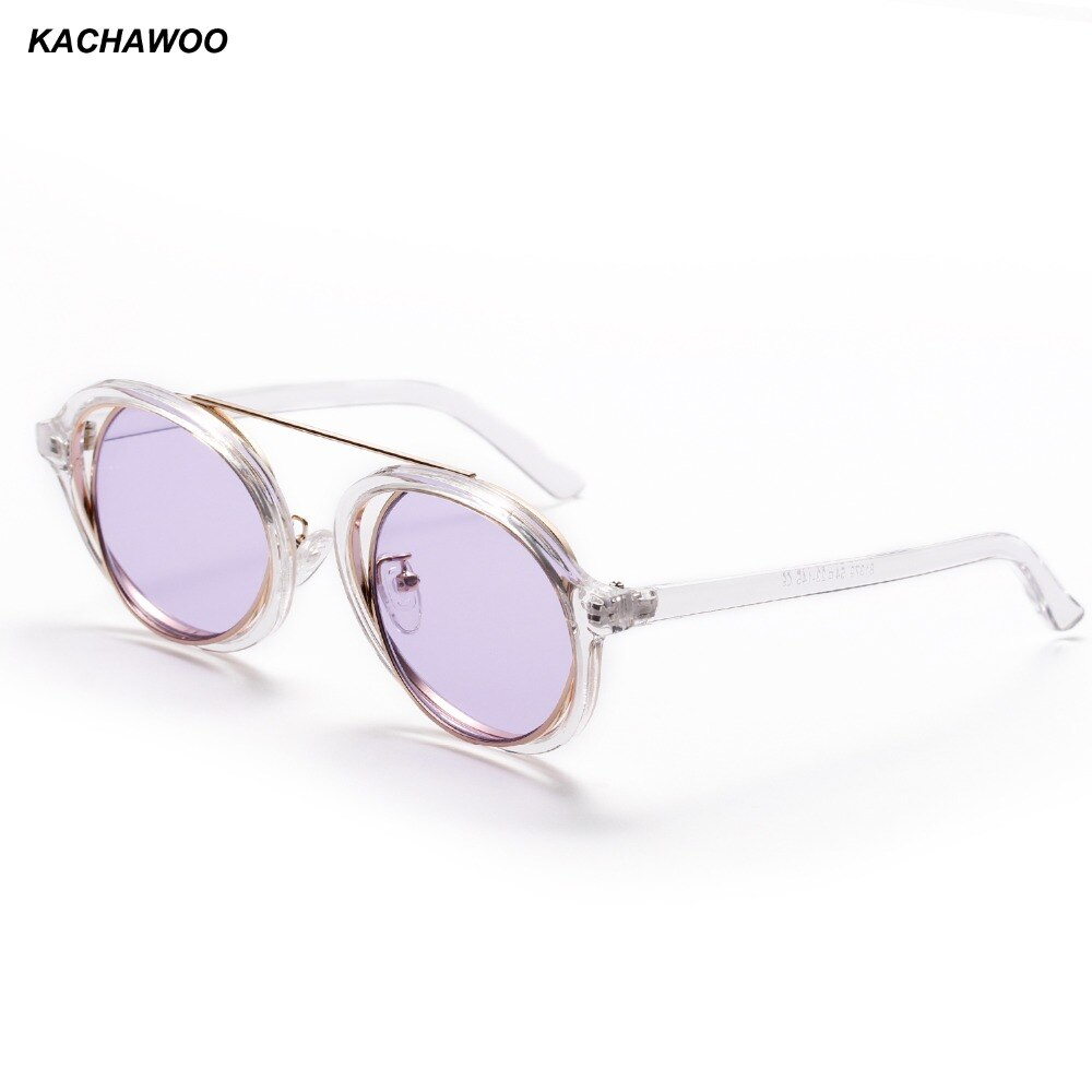 Kachawoo vintage redondo óculos de sol masculino metal transparente quadro roxo preto retro feminino 2018 uv400