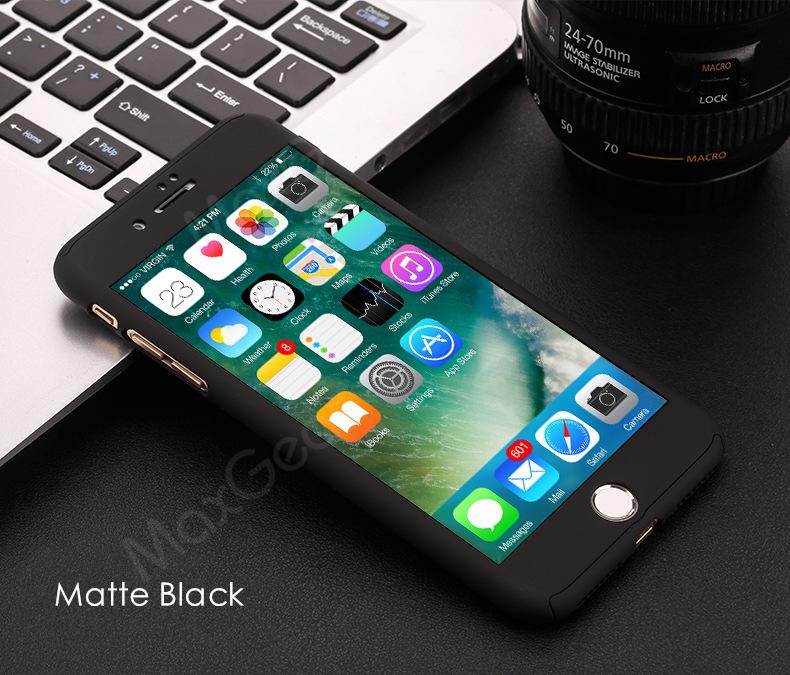Luksusowe Piano Black 360 Stopni Ciężka PECET Skrzynki Dla Apple iPhone 5 5S SE 6 6 S 7 Plus Szczupła Całe Ciało Pokrywa Capa + Szklany Ekran Protector 11