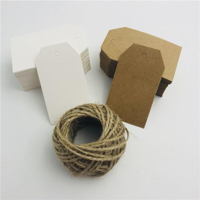 100 unids/lote Blanco marrón Kraft etiquetas de papel DIY Trapezoidal Etiquetas de equipaje, boda nota en blanco Precio de 15m de cuerda 4*7cm