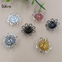 BoYuTe 50Pcs 15MM Filigree Brass Flower Charms Wholesale Diy Jewelry Materials Flower Stamen