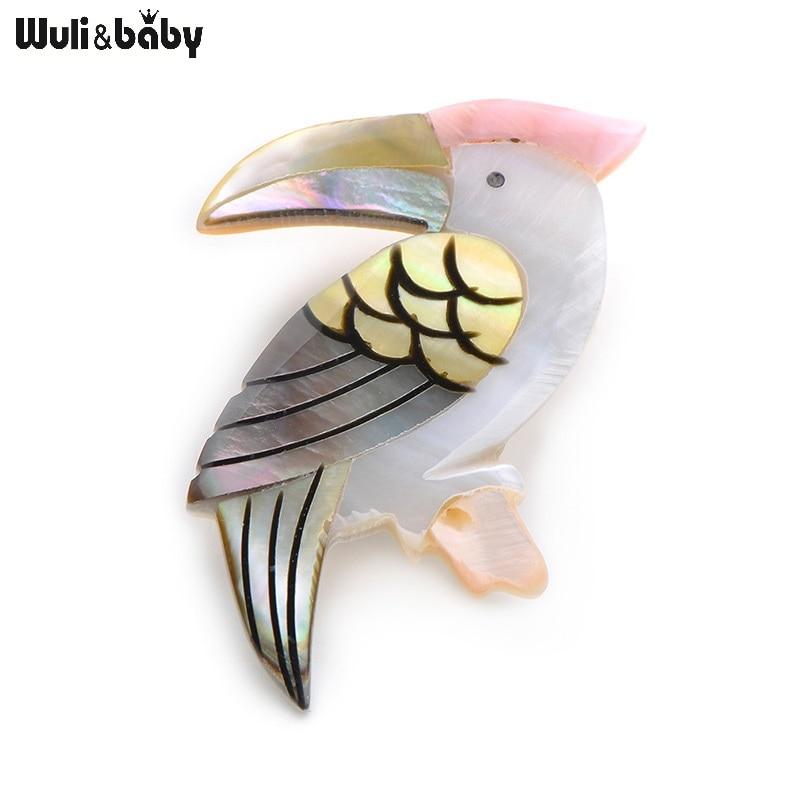 Wuli & bebê natural concha pássaro broches liga pica-pau animais banquete casamentos broche presentes de natal