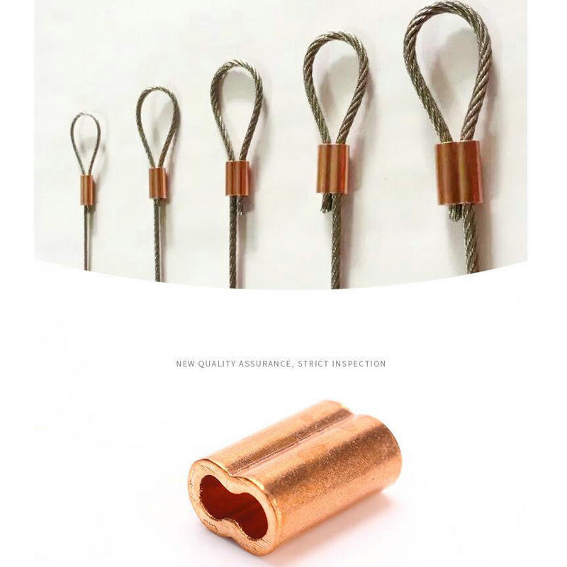 HQ CF01 czerwona miedź 8 kształt podwójne otwory lina stalowa okucie drut tulejowy liny zacisk (dla 0.5-5MM kabel z liny stalowej)