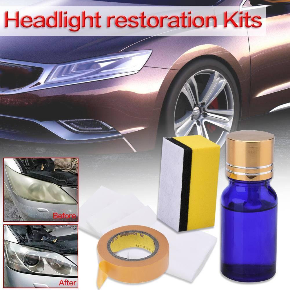 Kit Restoration Kit Headlight Lens Clean Lamp Repairing Liquid Polisher Automotive Tool 10ML Sponge Tape Paper
