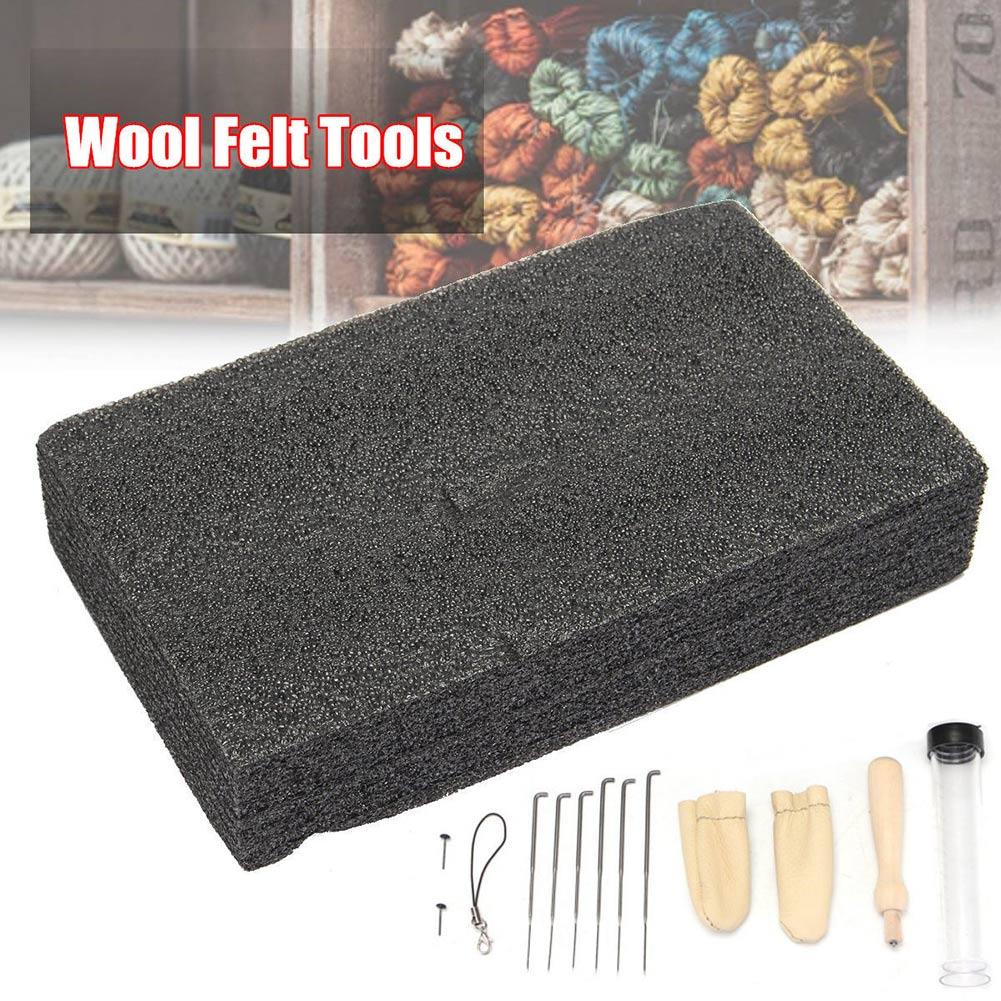 Kit de démarreur pour feutrage à laiguille   De 14 pièces, outils en feutre de laine, tapis + aiguilles + accessoires, ensemble artisanal