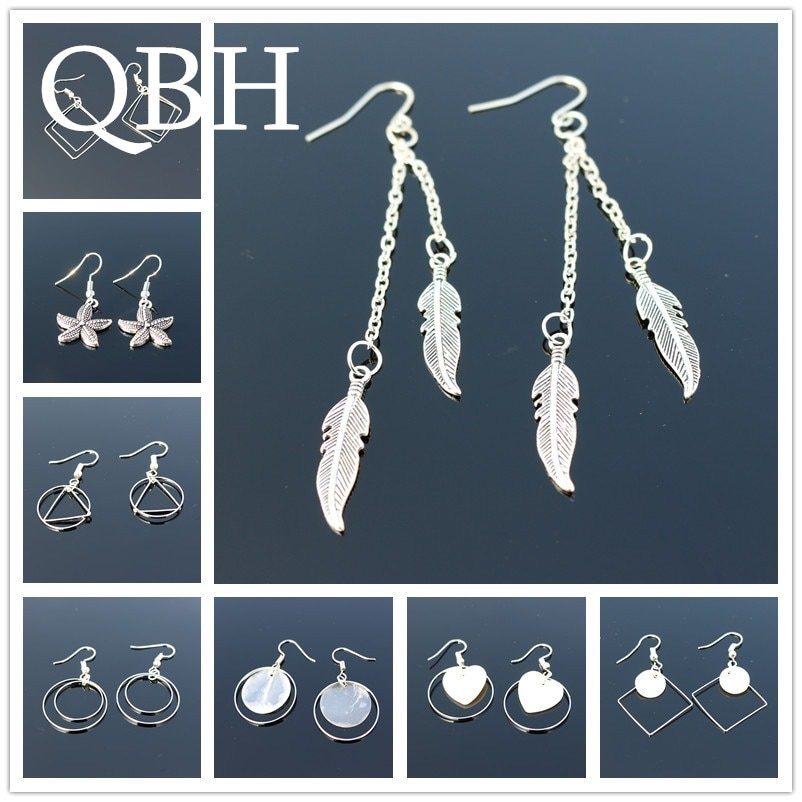 New Bohemia Vintage Geometry Triangle Square Circle Shell Heart Feather Leaf Wing Peace Drop Earring