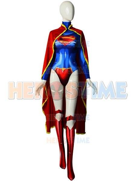 El nuevo disfraz de Supergirl de 52 con estampado 3D de Spandex, disfraz de Cosplay de superchica superhéroe con capa, hecho a medida