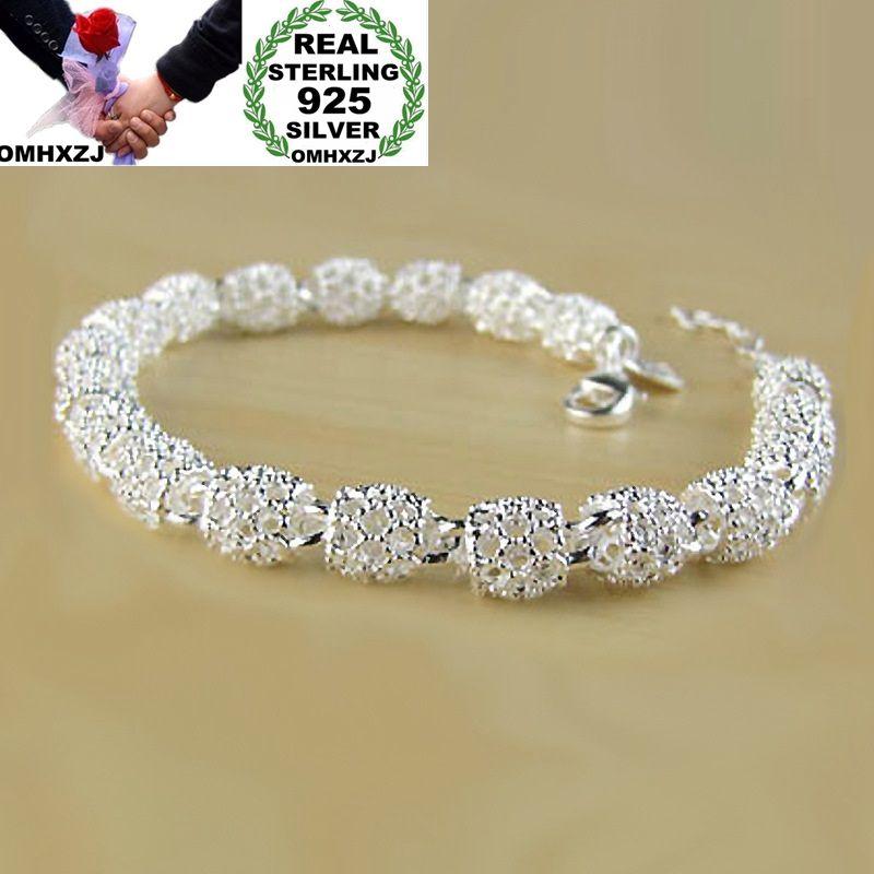Omhxzj atacado personalidade moda ol mulher menina festa presente prata oco longo contas corrente 925 prata esterlina pulseira br30