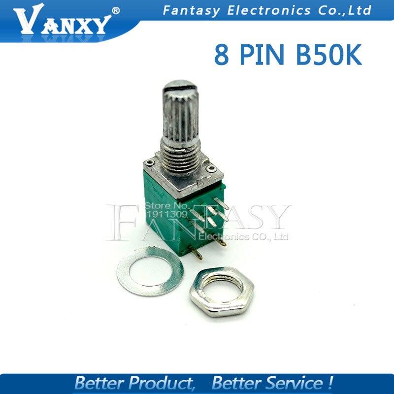 5 uds RV097NS 50K potenciómetro único enlazado B50K con interruptor de audio 8 pines eje 15mm potenciómetro de sellado de amplificador de potencia