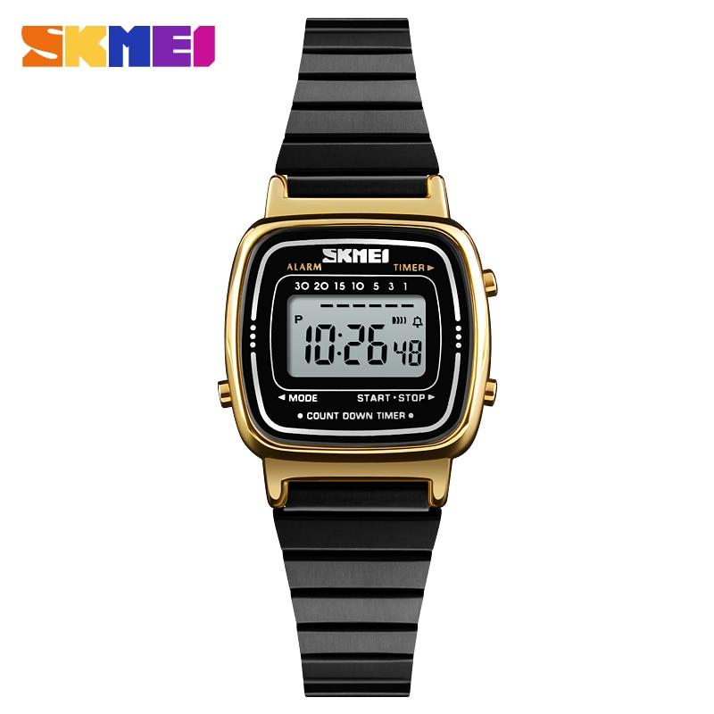 SKMEI Luxury Brand Women Sport Watch Waterproof Electronic LED Digital Watch Women Rose Gold Ladies Wrist Watches Montre Femme