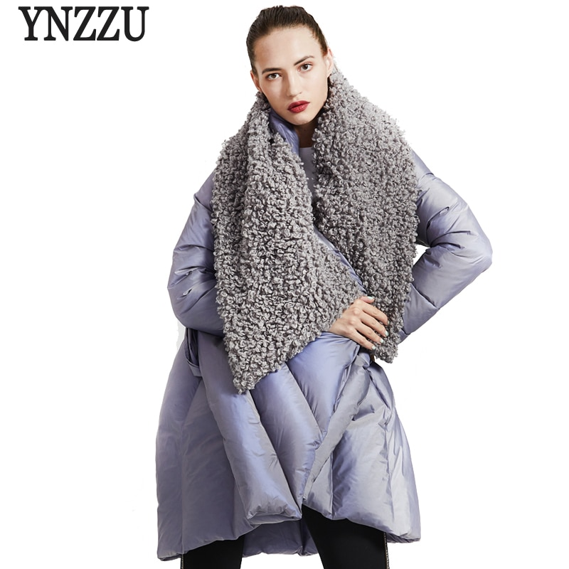 Brand Original Design 2020 Winter Women's Down Jacket Chic Cloak Duck Down Coat Woman Lamb Fur Collar Warm Female Jacket AO734