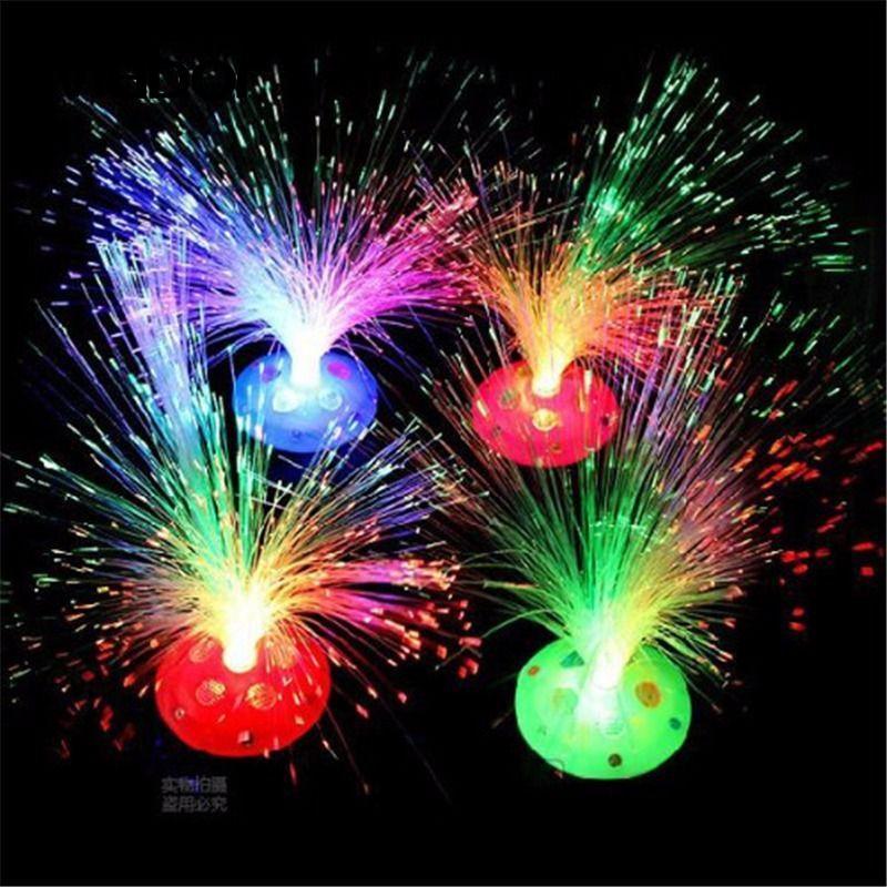 Mabor 1 Uds hermoso color romántico cambio LED fibra óptica lámpara Navidad Fiesta decoración del hogar para la iluminación del hogar