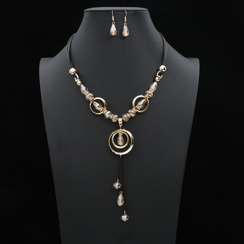 Cuentas de conjuntos de joyas bohemias para mujer, colgante de resina acrílica, cadena geométrica, collar de cuerda, pendientes, conjunto de joyas, Bisutería