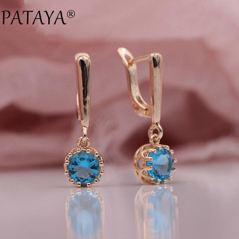 PATAYA Neue Ankünfte Arbeiten 585 Rose Gold Runde Blau Natürliche Zirkon Lange Baumeln Ohrringe Frauen Hochzeit Luxus Edlen Schmuck