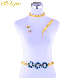 Ethlyn Saudi Arabia/Ethiopian/ Arab Jewelry Sets Yellow Gold Color Crystal  Rhinestone Waist Chain Wedding Accessories S106