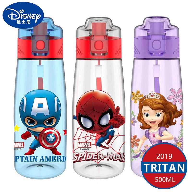 Disney Kids Water Bottles Mickey Minnie Mouse Cartoon Cups with Straw Captain America Sport Bottles