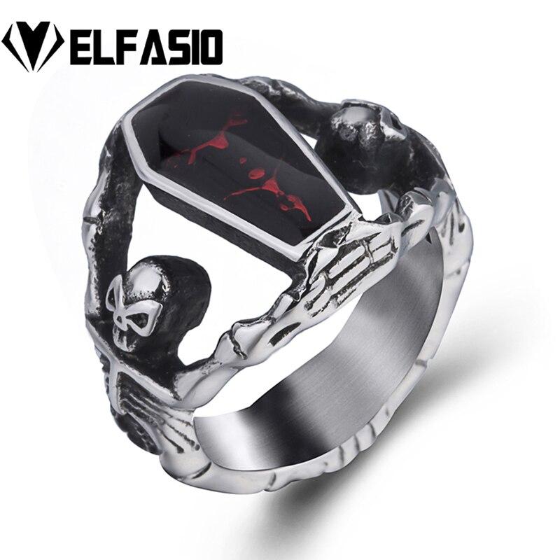Masculino meninos gótico vampiro esqueleto crânio vermelho sangrento esmalte caixão anel de aço inoxidável punk jóias eua tamanho 8-14