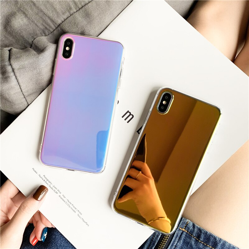 Funda de espejo láser de lujo para iphone X XR XS Max 11 Pro Max para iphone 6 6s 7 8 plus, funda protectora de tpu suave