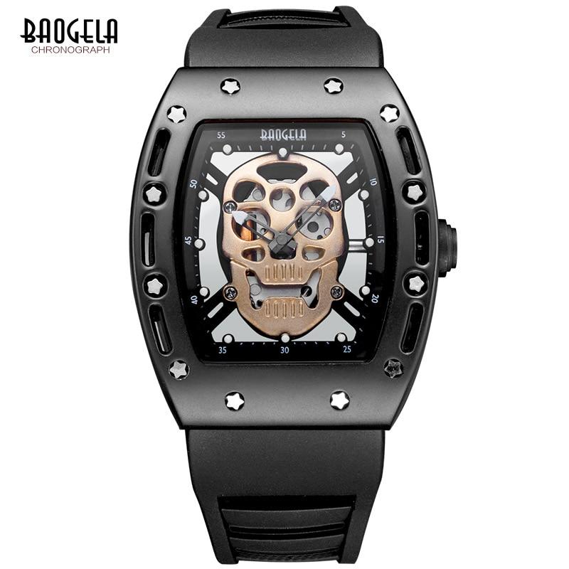 Baogela موضة رجالي الهيكل العظمي الجمجمة مضيئة ساعات كوارتز العسكرية نمط أسود سيليكون مستطيل الهاتفي ساعة اليد ل Man1612