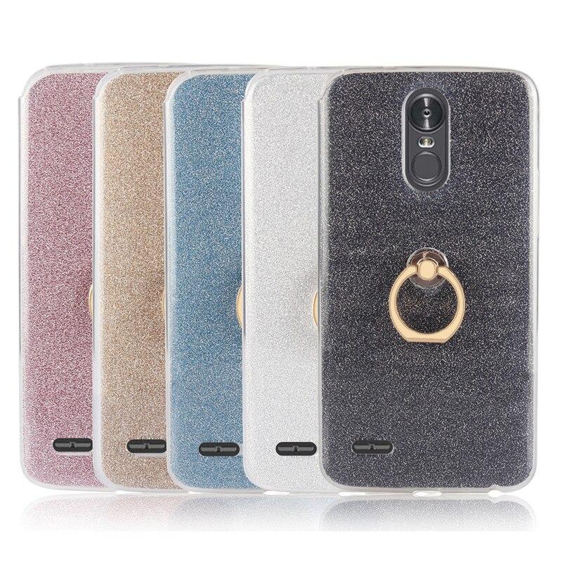 Lujosas fundas blandas de TPU con anillo de Metal para teléfono LG Stylus 3, carcasa para LG Stylo 3, LG K10 Pro LS777, carcasa protectora con purpurina