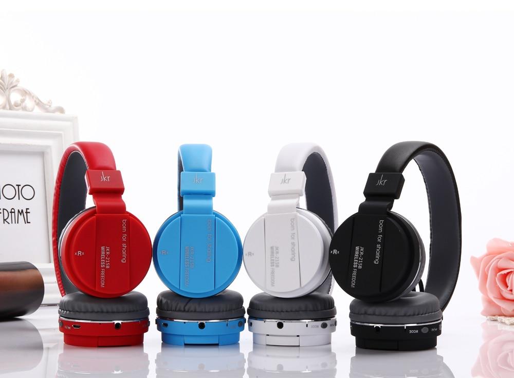 2018 Original JKR 215B auriculares Bluetooth inalámbricos plegables estéreo música bajo auriculares con micrófono soporte TF tarjeta FM Radio