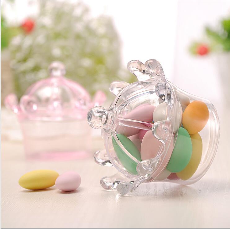 12 Uds. Caja de caramelos transparente, Cajas de caramelos transparentes de plástico, embalaje de dulces de diseño de corona para suministros de baño para bebé de boda