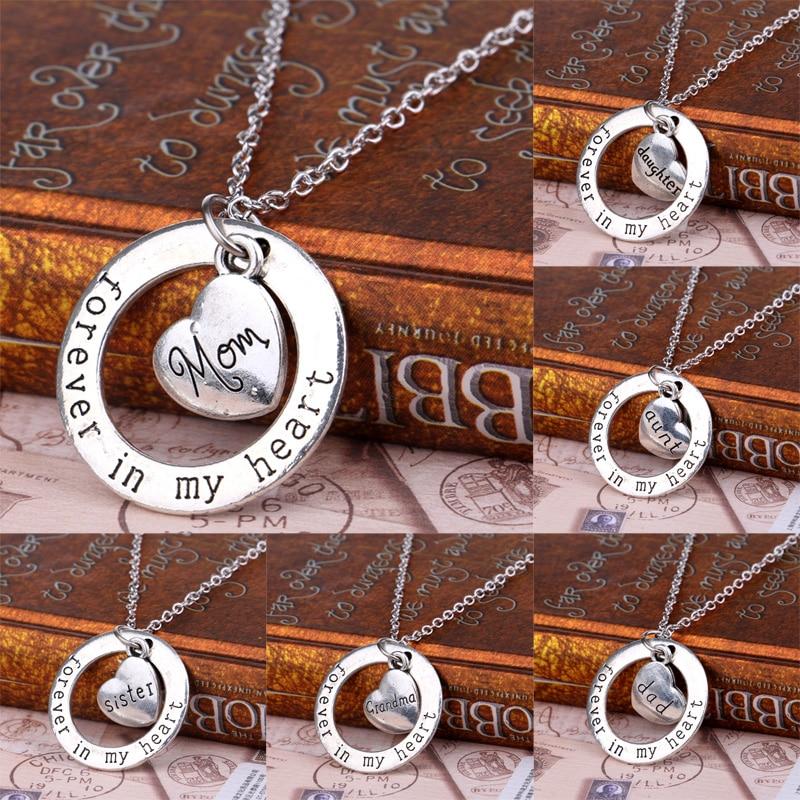Familienmitglied Geschenke Versilbert Mom Oma Tochter Schwester Dad Herzen Immer In Meinem Herzen Kreis Anhänger Halskette Weihnachtsgeschenke