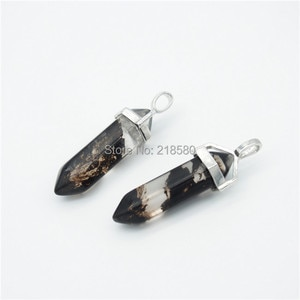 P15052215  Ice Black and Clear Glass Crystal Point Pendant with gold or silver bail