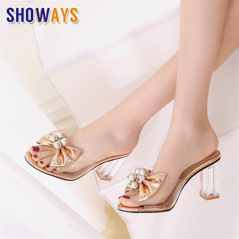 Sandalias de tacón de bloque de cristal transparente de PVC de verano para mujer