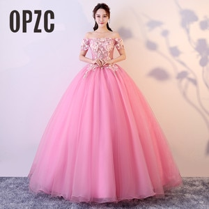 Real Photo 2020 OPZC Backless Evening Dress Short Sleeve Off the Shoulder Luxury Embroidered Flower with beading Elegant Women
