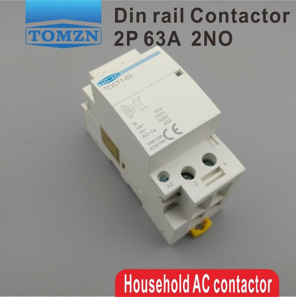Contactor modular TOCT1, 2P, 63A de 220V/230V, 50/60HZ para el hogar, Contactor...