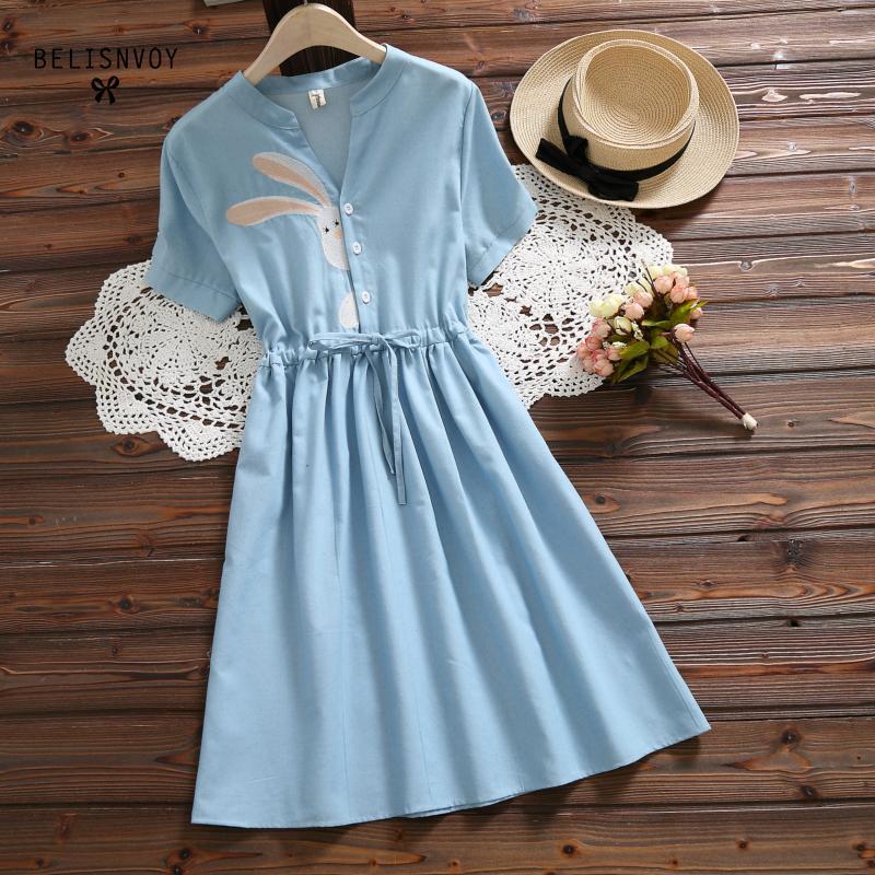 Mori Girl Summer Women Rabbit Embroidery Dress V-neck Drawstring Blue Femininos Vestidos Short Sleeve Elegant Dress