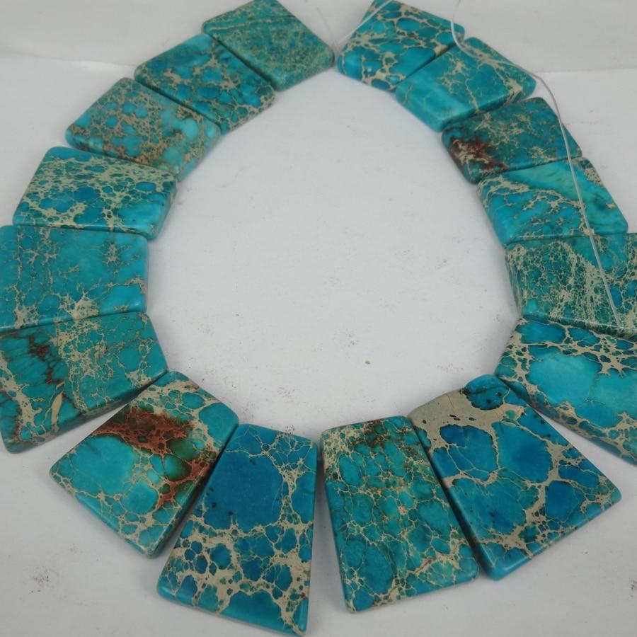 20 piezas 30*40mm cuentas de corte Imperial Aqua, forma de losa perforada superior gemas piedra accesorios de cuentas fabricación de joyas