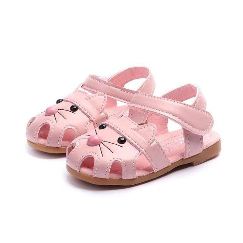 COZULMA niños lindo gato playa sandalias bebé niñas recorte zapatos de verano niños antideslizante gancho y bucle tamaño de los zapatos 21-30