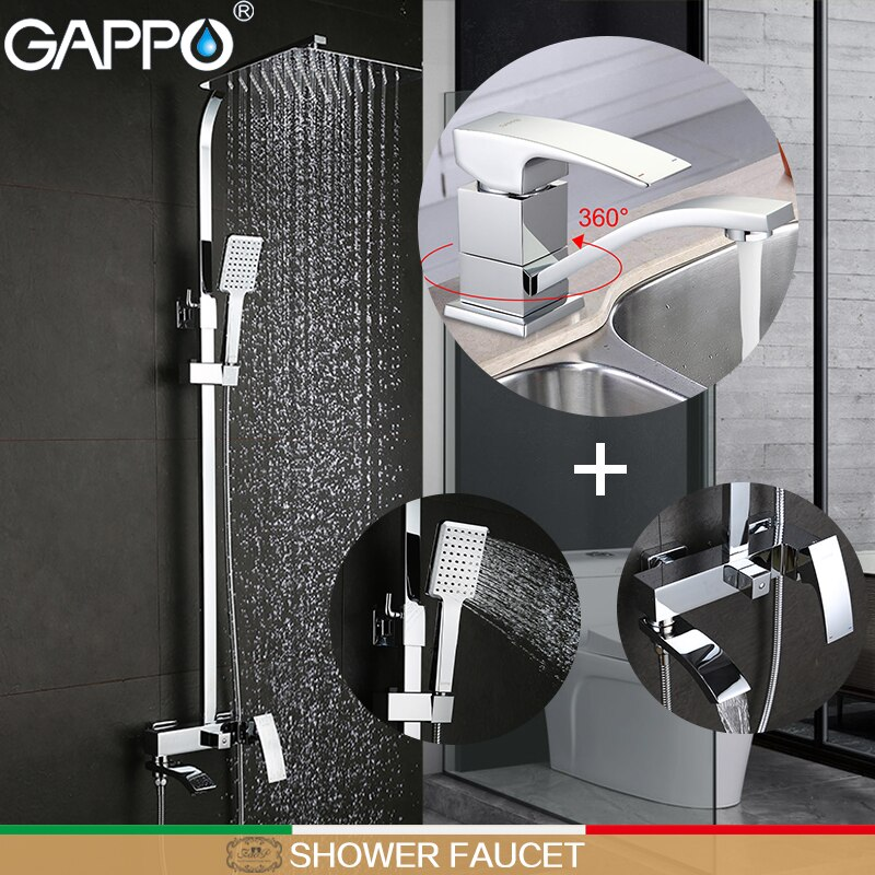 GAPPO Torneiras Chuveiro do banheiro banheira misturadores torneira da bacia misturador da bacia misturador do chuveiro rainfall set torneira do banheiro
