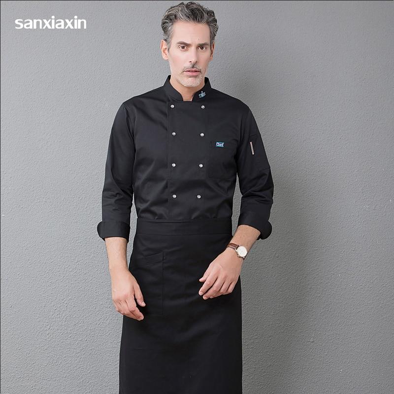 Uniforme de Chef de manga larga, Chef, restaurante, barbacoa, cocina, ropa de trabajo de alta calidad, servicio de comida, Tops de Chef azul