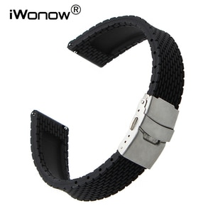 22mm Quick Release Silicone Rubber Watchband for Pebble Time Moto 360 2 46mm Vector Ticwatch 1 Cookoo Watch Band Wrist Strap