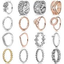16 Style 1 pièces femmes couleur argent anneaux avec Rose or fleur blé oreille amour coeur couronne bague en cristal pour les femmes bijoux cadeau