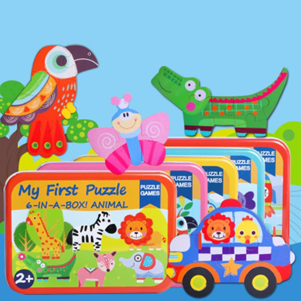 6-en-1 niño divertido animales de dibujos animados elefante León rompecabezas juguete educativo para edades tempranas vehículos autobús rompecabezas de madera caja de juego para regalo de chico