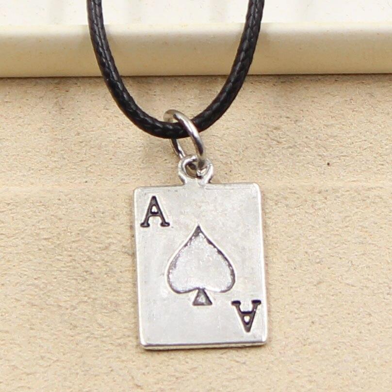Nova moda tibetano prata cor pingente poker spade um colar gargantilha charme cabo de couro preto preço de fábrica jóias artesanais