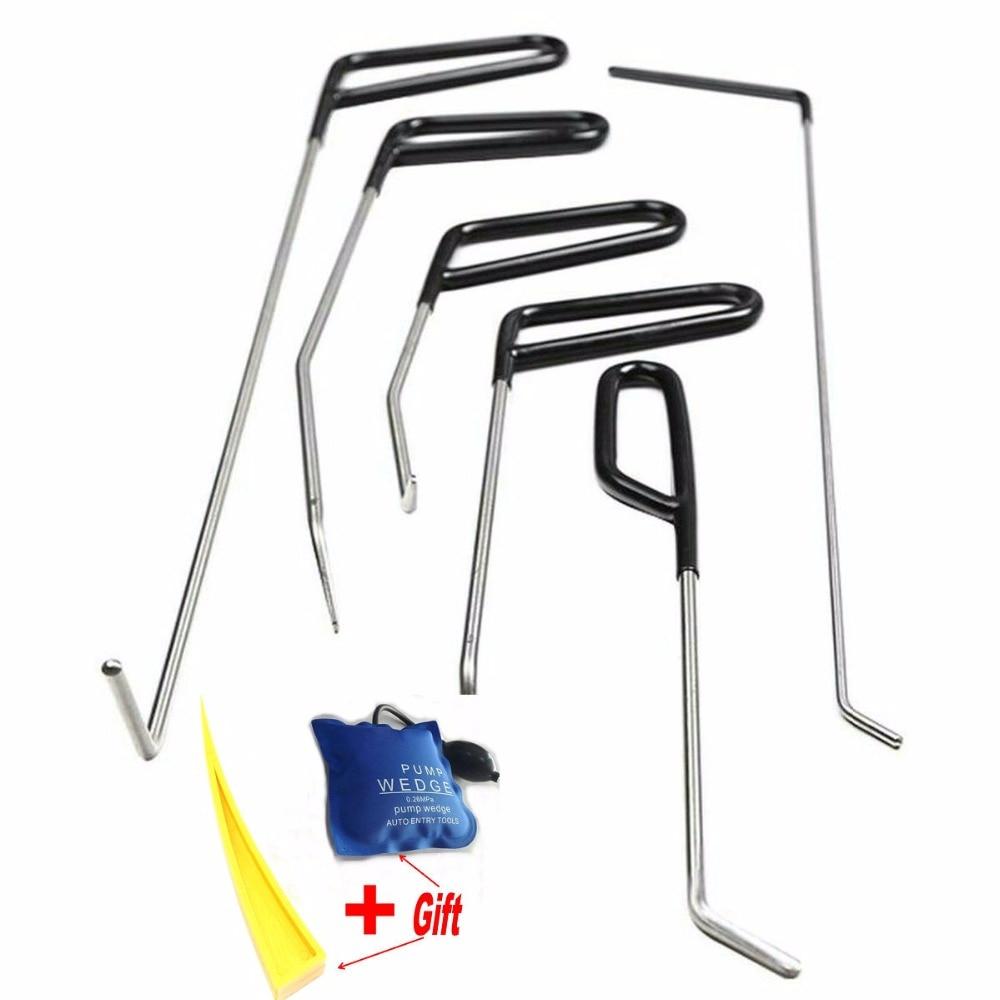 PDR Haak Gereedschap Push Staven Dent Removal Tools Verveloos Dent Repair Tools Auto-Body Repair Kit Pomp Wedge DHL -TNT Gratis Verzending