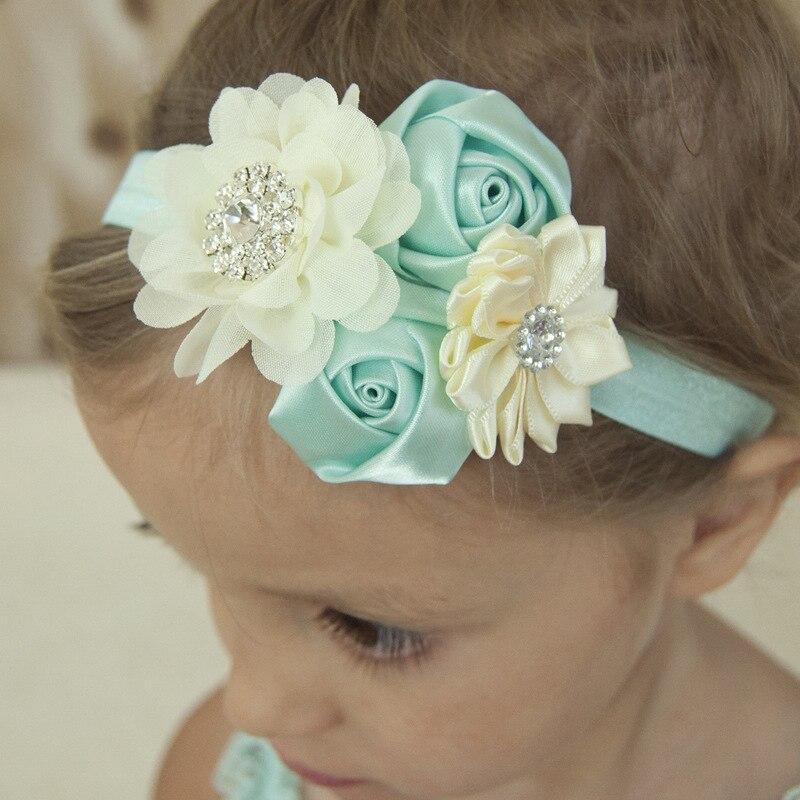 1 Uds doble capullos de rosa flores de Gasa elástico diadema de flor para el cabello boutique diadema de bautismo regalo cabello accesorios para el cabello