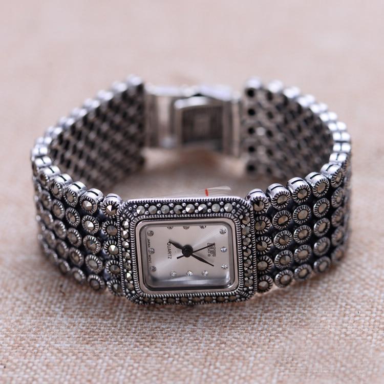 Hot البيع النساء الكلاسيكية التايلاندية الفضة سوار ساعة S925 الفضة سوار ساعة الفضة النقية ساعات يد الإسورة الفضة الحقيقية