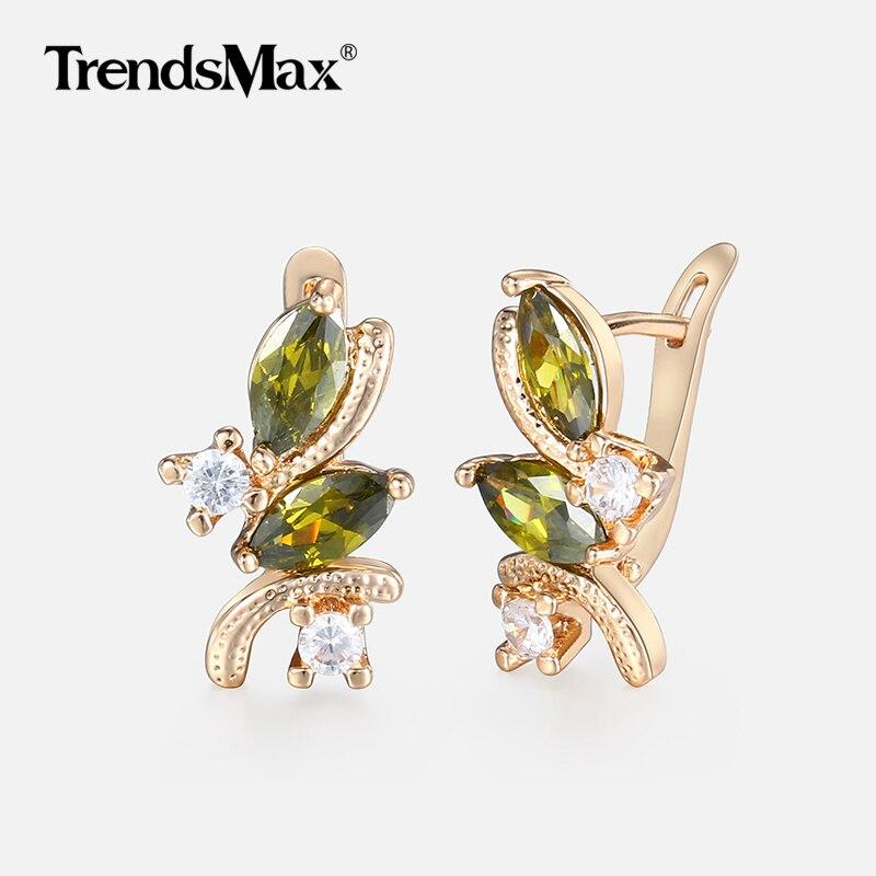 Olivin Shaped Grün CZ Stein Ohrringe für Frauen Mädchen 585 Rose Gold Frau Ohrringe Mode Schmuck Valentines Geschenke KGE97