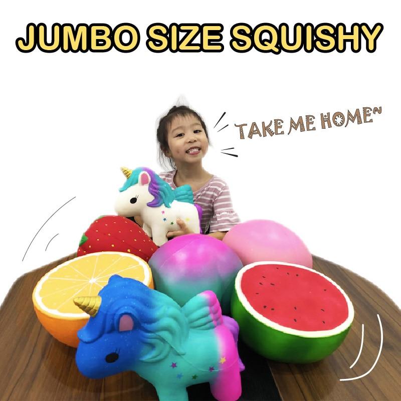 Gigante naranja sandía fresa melocotón unicornio Squishy aumento lento Jumbo suave apretar Kawaii Squishies juguetes Navidad