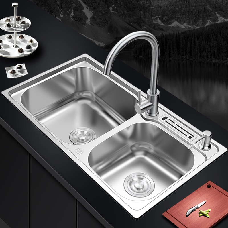 حوض مطبخ مزدوج من الفولاذ المقاوم للصدأ ، فوق سطح العمل أو الحوض ، حوض غسيل الخضار ، سمك 1.2 مللي متر