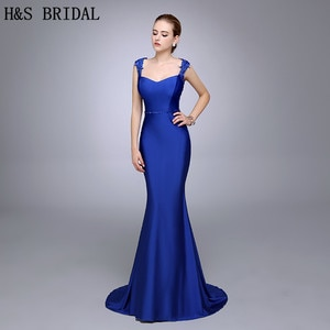 Real Photo Royal Blue Lace Applique Mermaid Evening Dress 2020 Crew Beaded Pivot Backless Wedding Party Guest Evening Gown