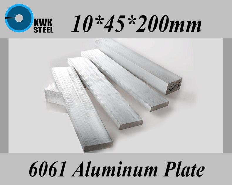 10*45*200mm 6061 Placa de Liga de Alumínio de Alumínio Folha de Material DIY Frete Grátis
